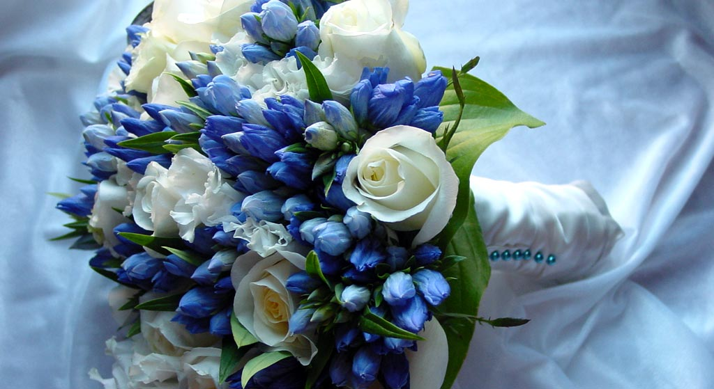 blauw-bruidsboeket