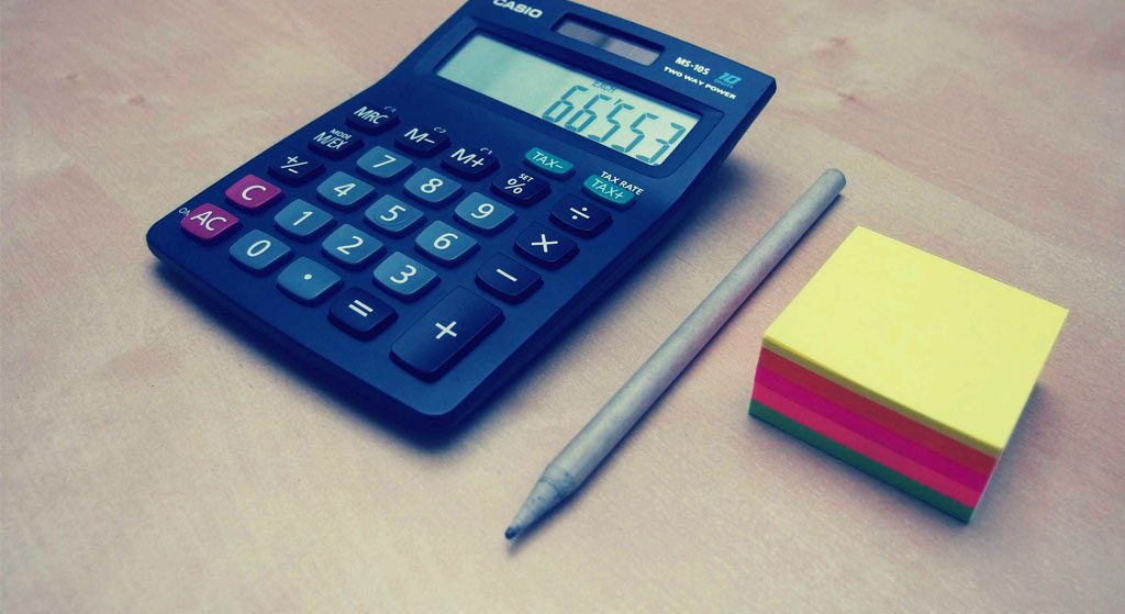 rekenmachine potlood notitieblok