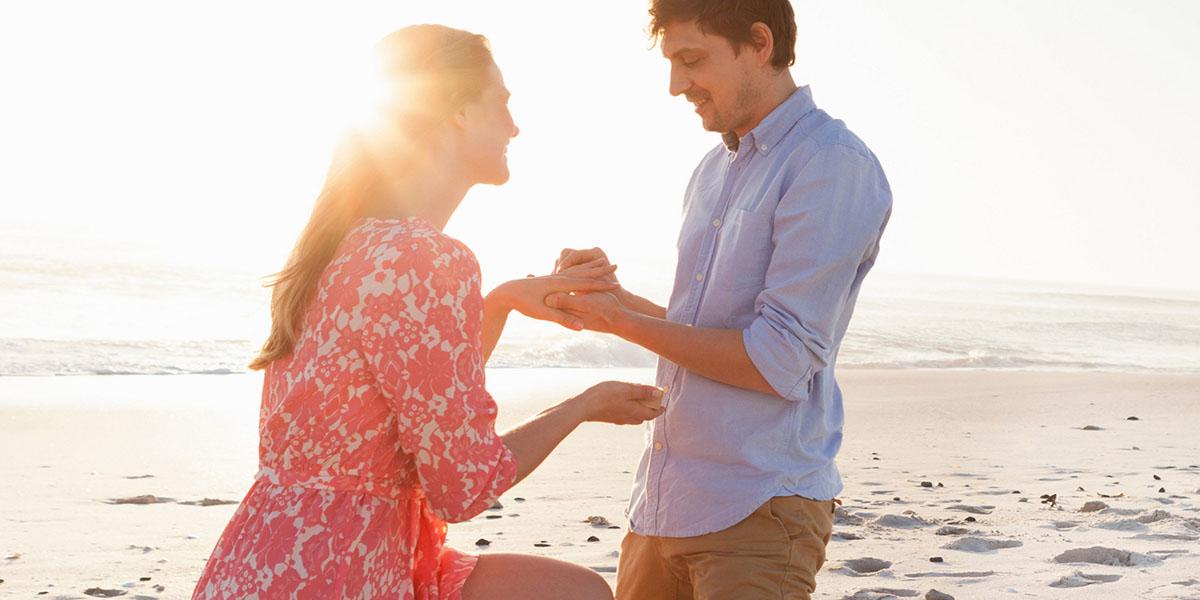 Man proposing to woman on beach