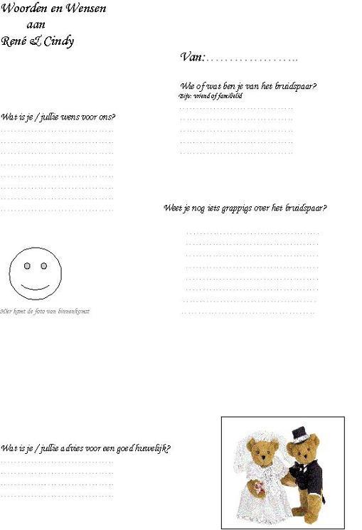 Gastenboek vriendenboek - Binnenkomst layouts ...